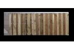 Filling, ex. de remplissage : lames bois, 2 largeurs, mix d'essences et ajourage + lames bois avec mix d'essences