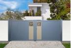 Portail aluminium Royal, battant avec découpe laser motif labyrinthe, bicoloration