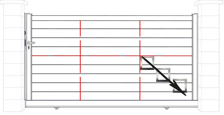 Croquis d'un portail Melys coulissant avec indication de l'angle de départ et décor 3 cadres